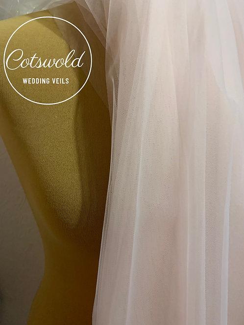 "Chapel 87"" Blush Pink Veil, Cut Edge - Soft Tulle 2 Tier Veil"