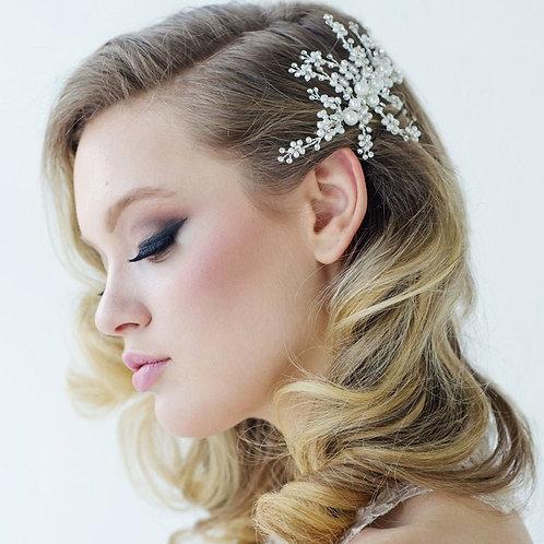 Betsy Luxe Pearl Hair Comb, Silver, Bridal Accessories, Bridal Hair, Crystal Bri