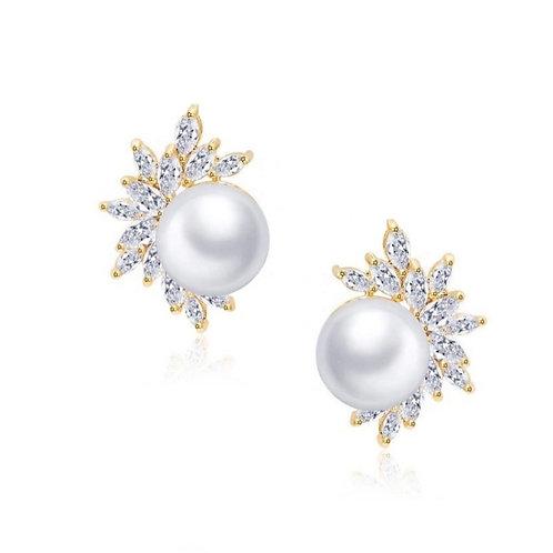 Dazzling Pearl Earrings, Silver, Rose Gold, Gold, Bridal Jewellery, Wedding Earr