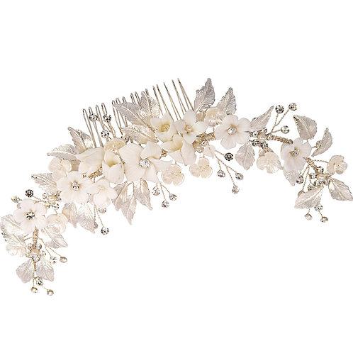 Floral Extravagance Hair Comb, Silver, Bridal Accessories, Bridal Hair, Bridesma