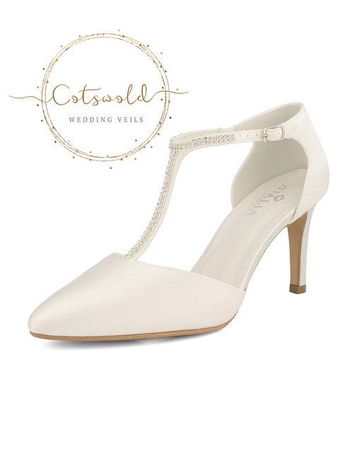 Crystal Embellished Bridal Shoes, Ivory Satin Brides Shoes, T Bar, High Heel