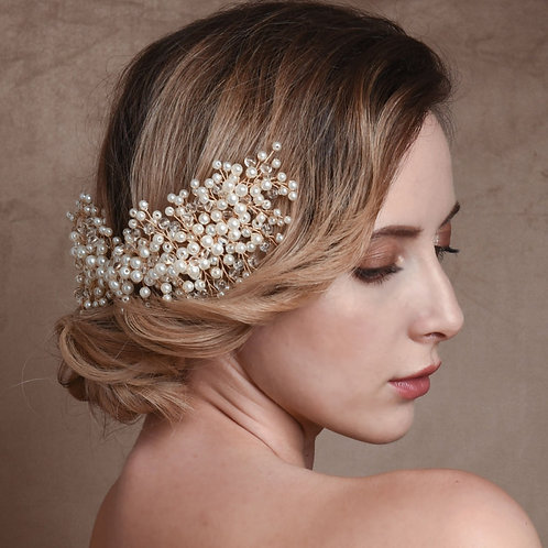 Beautiful Bridal Hair Comb, Luxe Pearl Cluster Chic Hair Comb, Silver or Gold, B