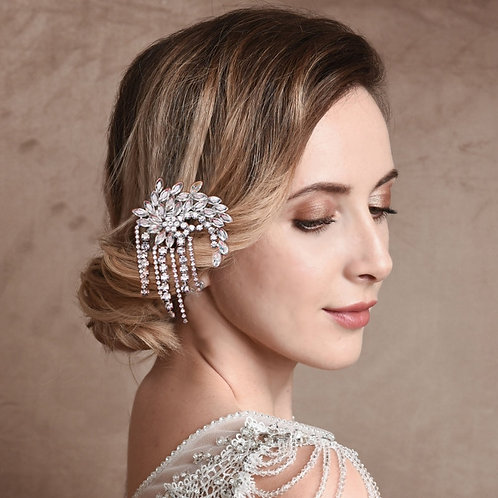 Gatsby Style Crystal Hair Clip,  Bridal Hair, Bridal Accessories, Bridal Hair Cl