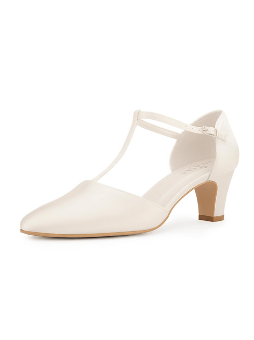 Beautiful Bridal Shoes, Ivory Satin Brides Shoes, T Bar, Low Heel, Extra Comfort