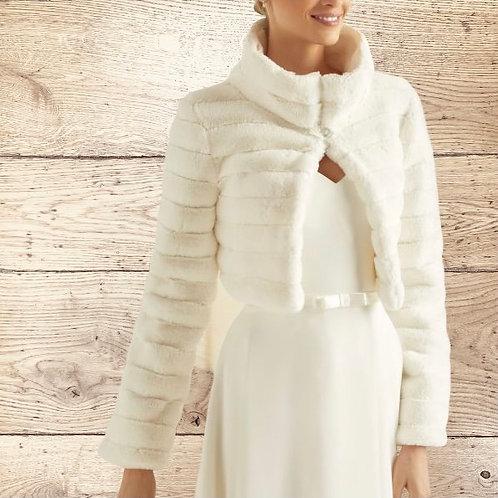 Stunning Faux Fur Jacket, Fur Bolero,  Wedding Shrug, Bridal Cover Up, Brides, B