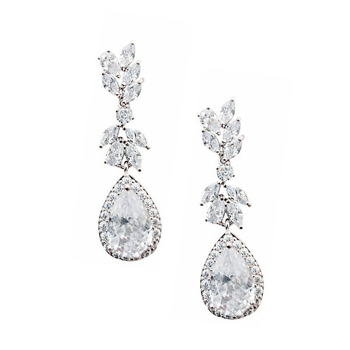 Charlotte Crystal Earrings, Available in Silver, Bridal Accessories, Bridal Jewe