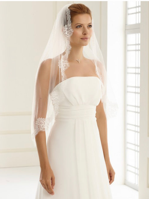 """32"""" French Lace Edge - Single Layer Diamond Soft Tulle Veil"""