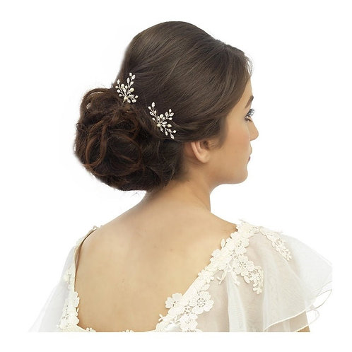 Elodie Crystal & Pearl Hair Pin, Available in Silver, Rose Gold or Gold, Bridal