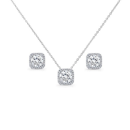 Chic Crystal Necklace Set, Necklace & Earrings, Available in Silver