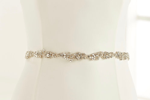 Beautiful Crystal Bridal Belt, Organza Belt with Embellishment