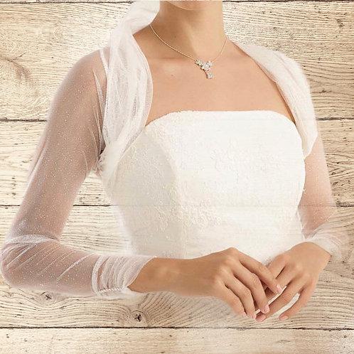 Beautiful Stretch Tulle Bolero -Ivory / White, Plain or Glitter Tulle
