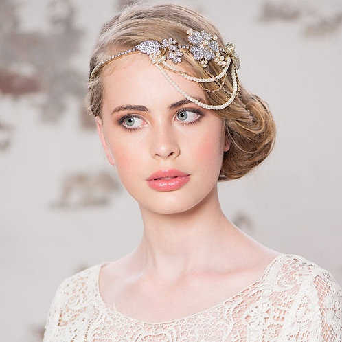Beautiful Statement Bejewelled Brow Band, Forehead Headband, Bridal Accessories,