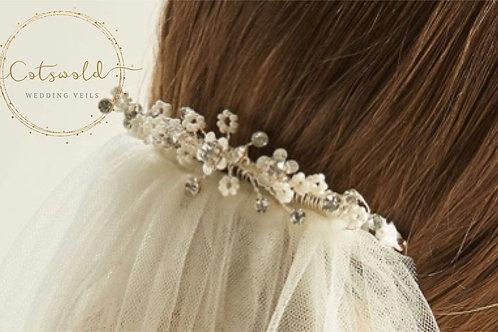 Beautiful Wedding Veil Clip - Ellie, Floral & Crystal Veil Clip