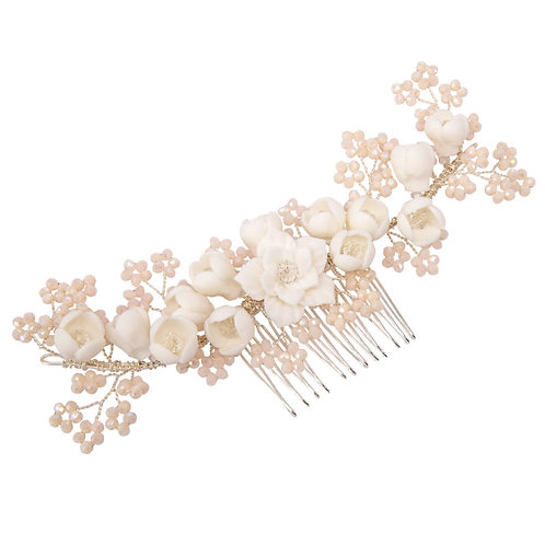 Floral Romance Hair Comb, Silver