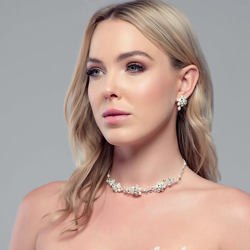 Exquisite Pearl Necklace Set, Pearl Necklace & Earrings, Available Silver, Gold