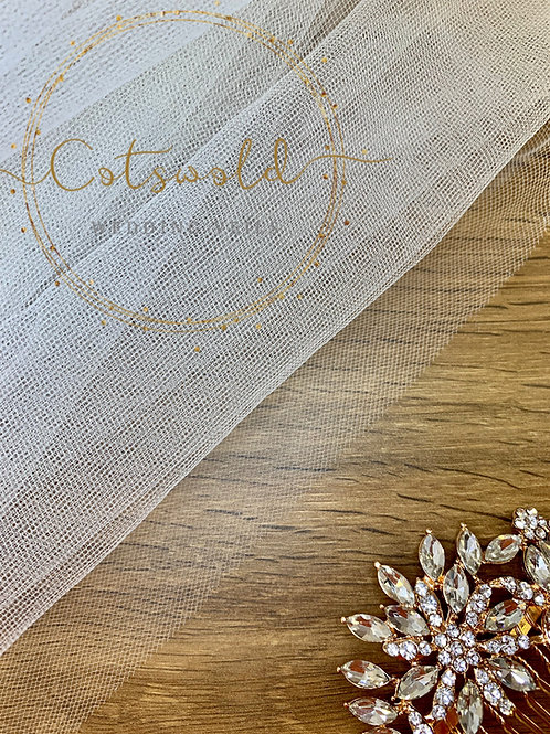"""Chapel Length Cut Edge - Soft Tulle 2 Layer Veil 87"""", Two Tier"""