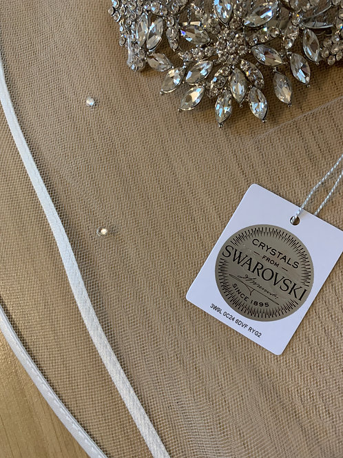 Satin Edge - Soft Tulle Veil with Genuine Swarovski Crystals