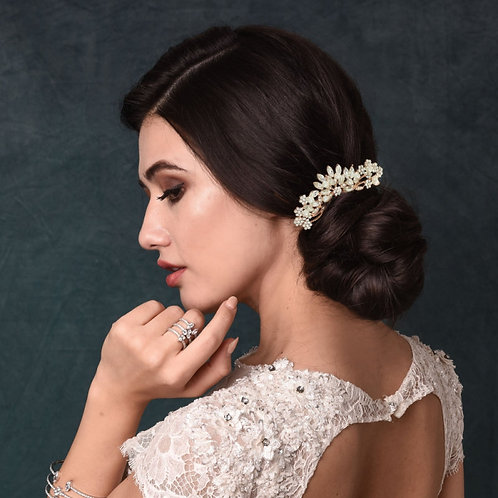 Bridal Hair Comb, Classic Pearl Hair Comb, Silver or Rose Gold, Bridal Accessori