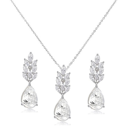 Starlet Chic Necklace Set, Vintage Crystal Necklace & Earrings, Silver, Bridal A