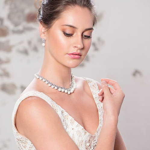 Pearl and Crystal Necklace &  Earrings, Available in Silver, Bridal Accessories,