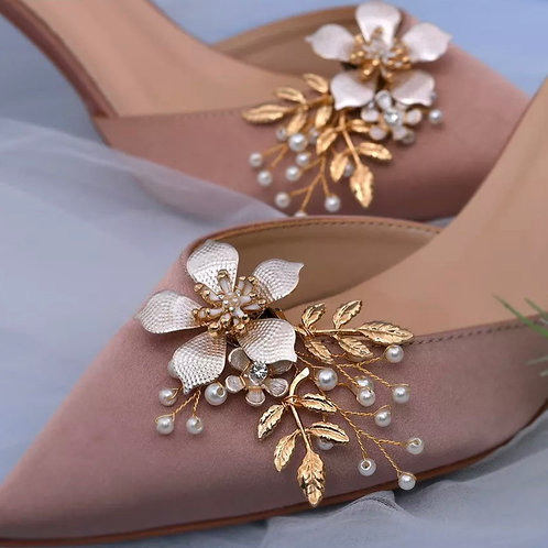 Beautiful Gold Vine & Pearl Bridal Shoe Clips, Shoe Brooches, Shoe Buckles, Crys
