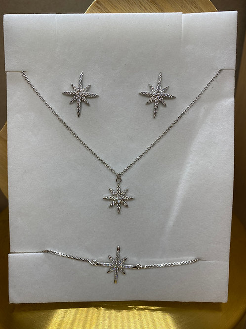 Crystal Sparkle Star Gift Set, Necklace Bracelet & Earrings, Silver