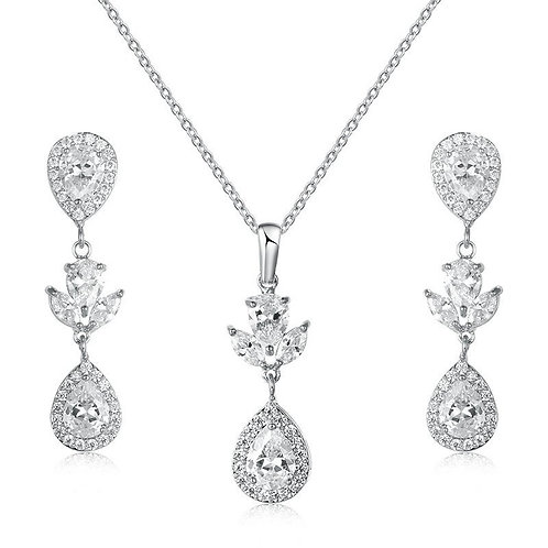 Elegance Necklace Set, Vintage Crystal Necklace & Earrings, Silver, Bridal Acces