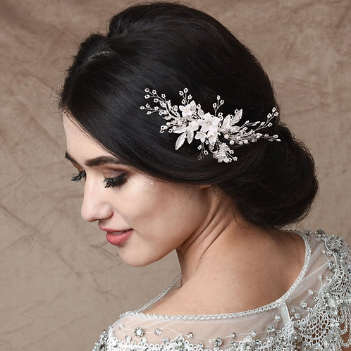 Exquisite Floral Embellished Hair Comb, Rose Gold, Silver, Bridal Accessories, B