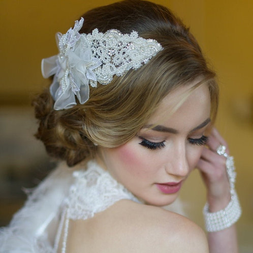 Brianna Chic Headpiece,  Bridal Hair, Bridal Accessories, Head Piece, Ivory Head