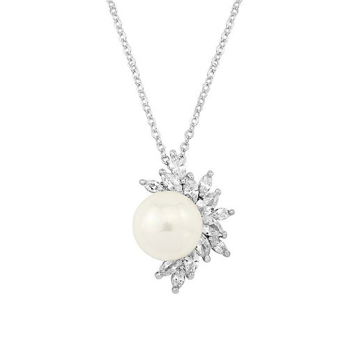 Dazzling Pearl Pendant Necklace, Available in Silver, Gold or Rose Gold,  Weddin