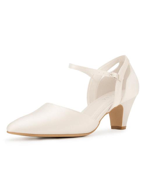 Ivory Satin Bridal Shoes, Classic Brides Shoes, Cut Out Decoration, Low Heel, Ex