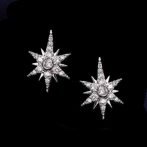 Crystal Starburst Earrings, Available in Silver