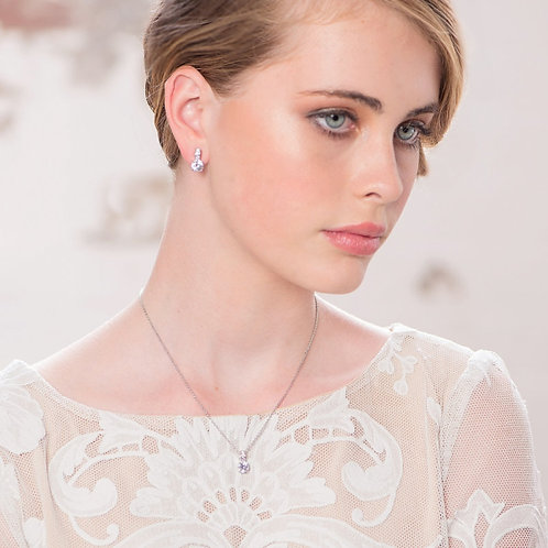 Classic Crystal Necklace & Earrings Set, Available in Rose Gold or Silver, Brida