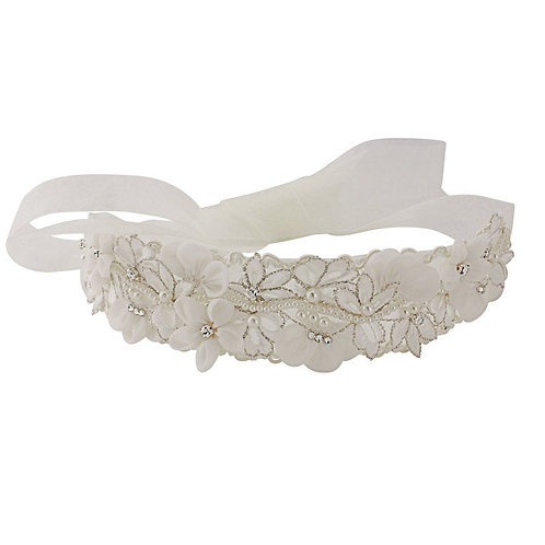 Beautiful Bridal Vintage Floral Sash,  Wedding Dress Belt, Ivory Sash, Pearl & C