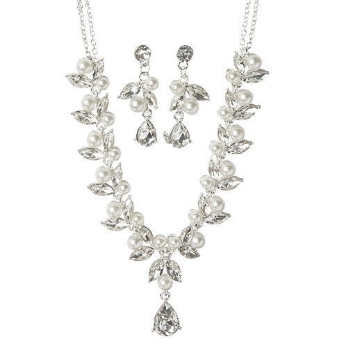 Crystal Embellished Necklace Set, Crystal Necklace & Earrings, Silver, Bridal Ac