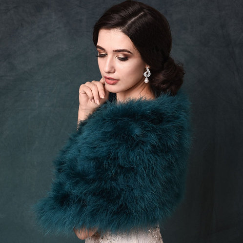 Teal Blue Green Marabou Feather Wrap - Beautiful Vintage Inspired Shrug