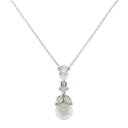 Graceful Pearl Necklace, Available in Silver or Gold,  Wedding Jewellery, Bridal