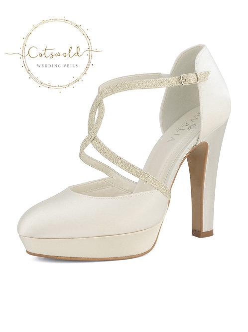 Beautiful Bridal Shoes, Ivory Satin Brides Shoes, T Bar, High Heel, Glitter Trim