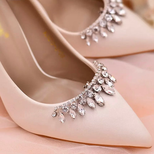 Crystal Bridal Shoe Clips, Shoe Brooches, Silver, Gold Red
