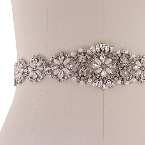 Beautiful Bridal Belt, Exquisite Crystal & Pearl Belt,  Wedding Dress Belt, Rose