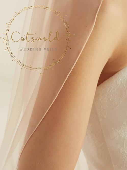 "118"" Blush Pink Veil,  Pencil Edge / Corded Edge - Soft Tulle Single Layer Veil"