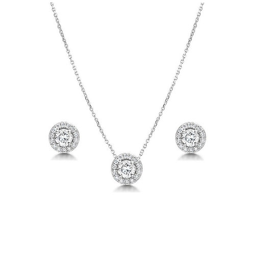 Crystal Sparkle Necklace Set, Necklace & Earrings, Available in Silver, Bridal A