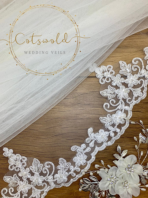 "32"" Lace Edge - Single Layer Diamond Soft Tulle Veil - Beaded Top Edge"