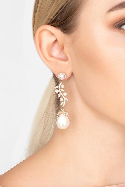 Baroque Pearl Trailing Flowers Earrings Rosegold