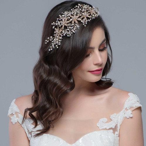 Bejewelled Headpiece,  Bridal Hair, Bridal Accessories, Head Piece, Silver or Ro
