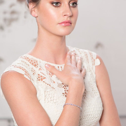 Chic CZ Tennis Bracelet, Available in Silver or Rose Gold, Bridal Accessories, W