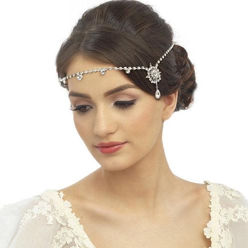Crystal Luxe Brow Band, Forehead Headband, Bridal Accessories, Bridesmaid Hair,