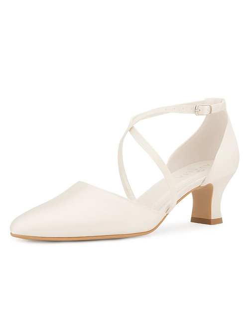 Classic Bridal Shoes, Ivory Satin Brides Shoes, Crossover Strap,  Low Heel, Extr