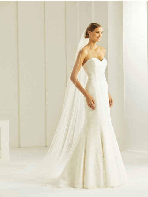 """118"""" Beaded Edge - Single Layer Soft Tulle Lace Veil"""