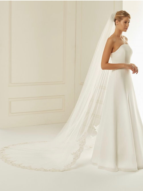 """Cut Edge - Soft Tulle Lace Veil 110"""" with Lace Detail & Diamond Tull"""